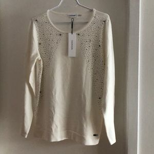 NWT Calvin Klein sweater with crystals and pearls